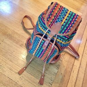 Handbags - MEXICAN HAND CRAFTED LEATHER & TAPESTRY BACKPACK